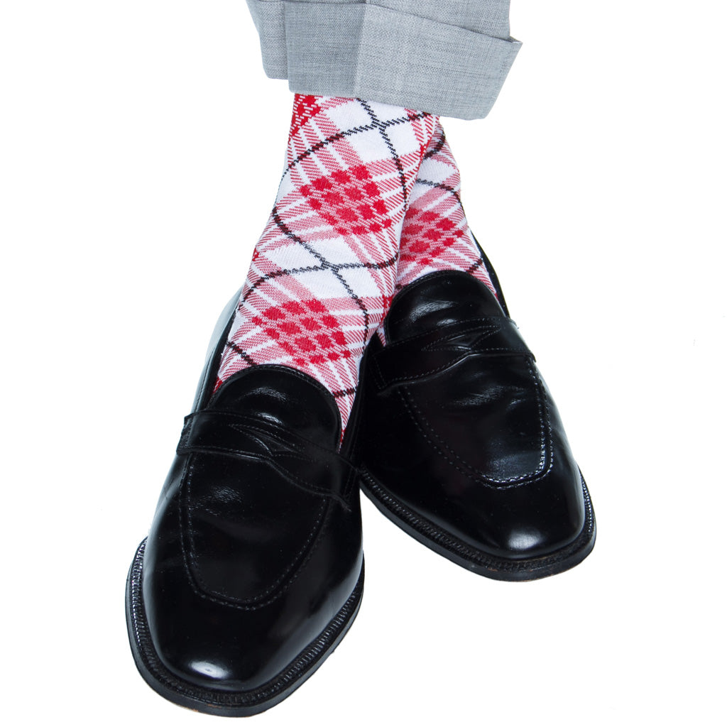 argyle red white black mid-calf cotton sock