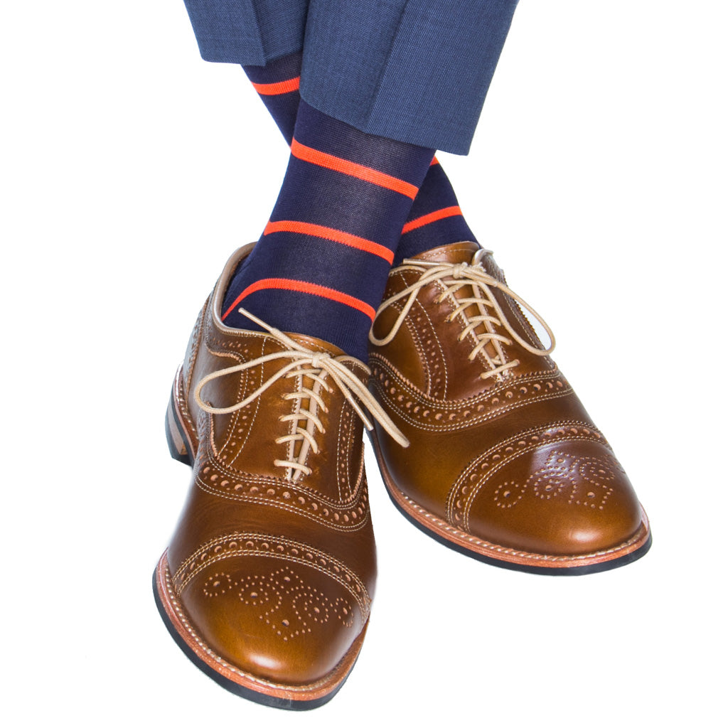 Classic Navy with Tigerlily Orange Stripe