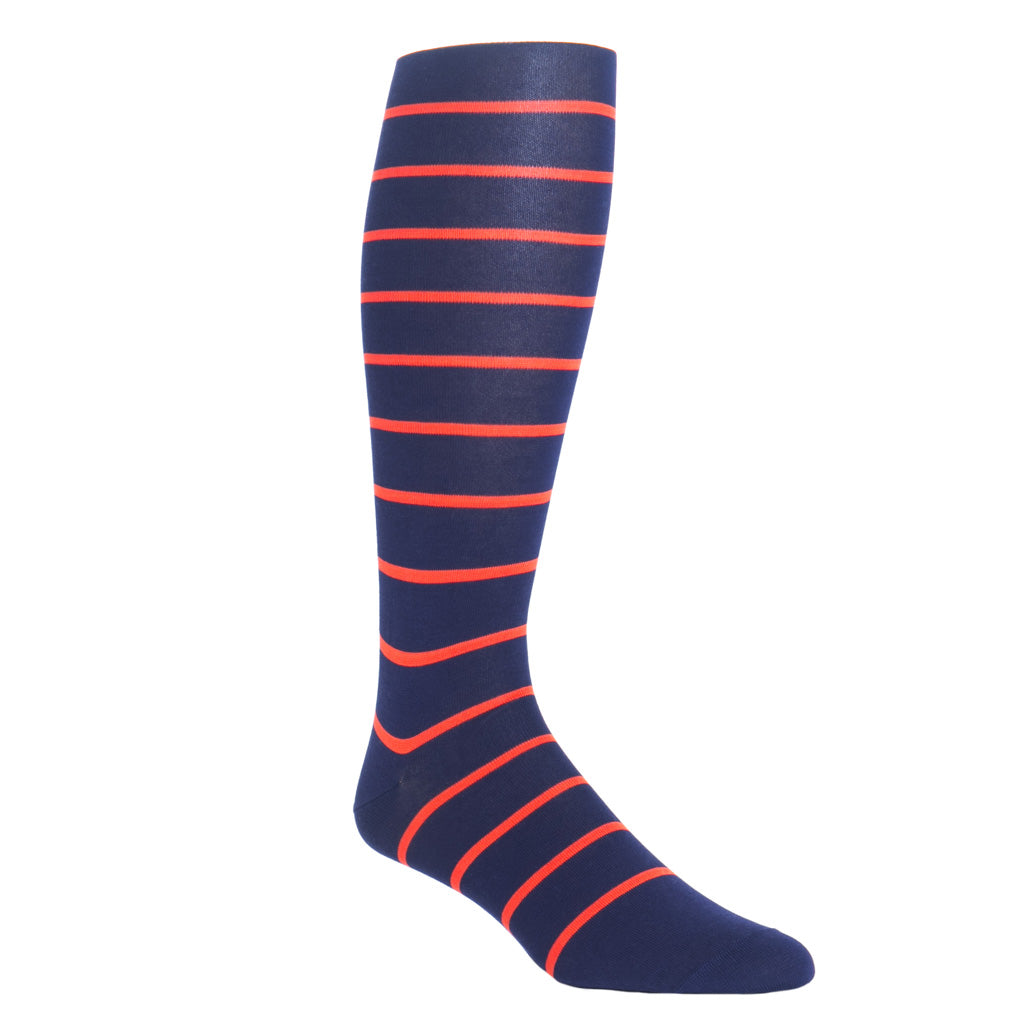 over-the-calf stripe sock navy and orange