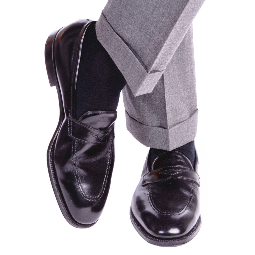 Black Ribbed Sock Fine Merino Wool Linked Toe Mid-Calf - mid-calf - dapper-classics