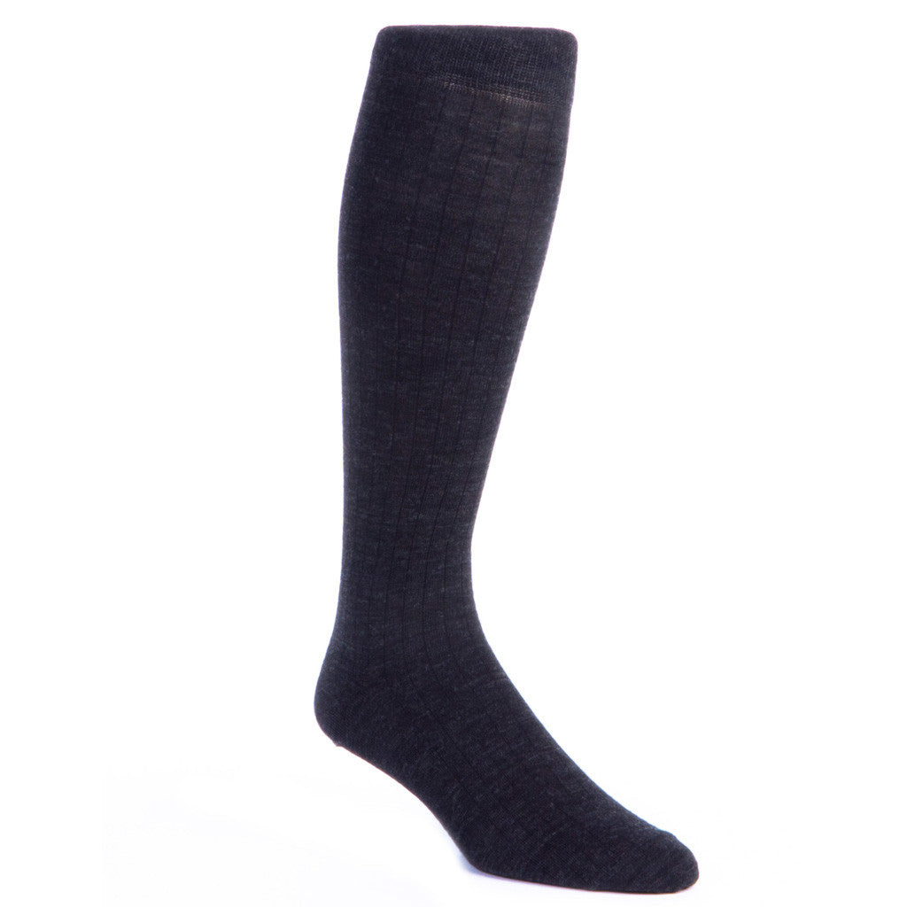 Charcoal Ribbed Sock Fine Merino Wool Sock OTC - over-the-calf - dapper-classics