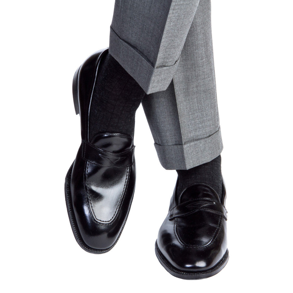 Charcoal Ribbed Fine Merino Wool Linked Toe Mid Calf - mid-calf - dapper-classics