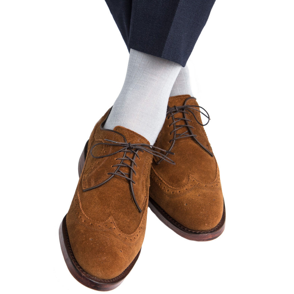 Grey Ribbed Sock Fine Merino Wool Linked Toe Mid-Calf - mid-calf - dapper-classics