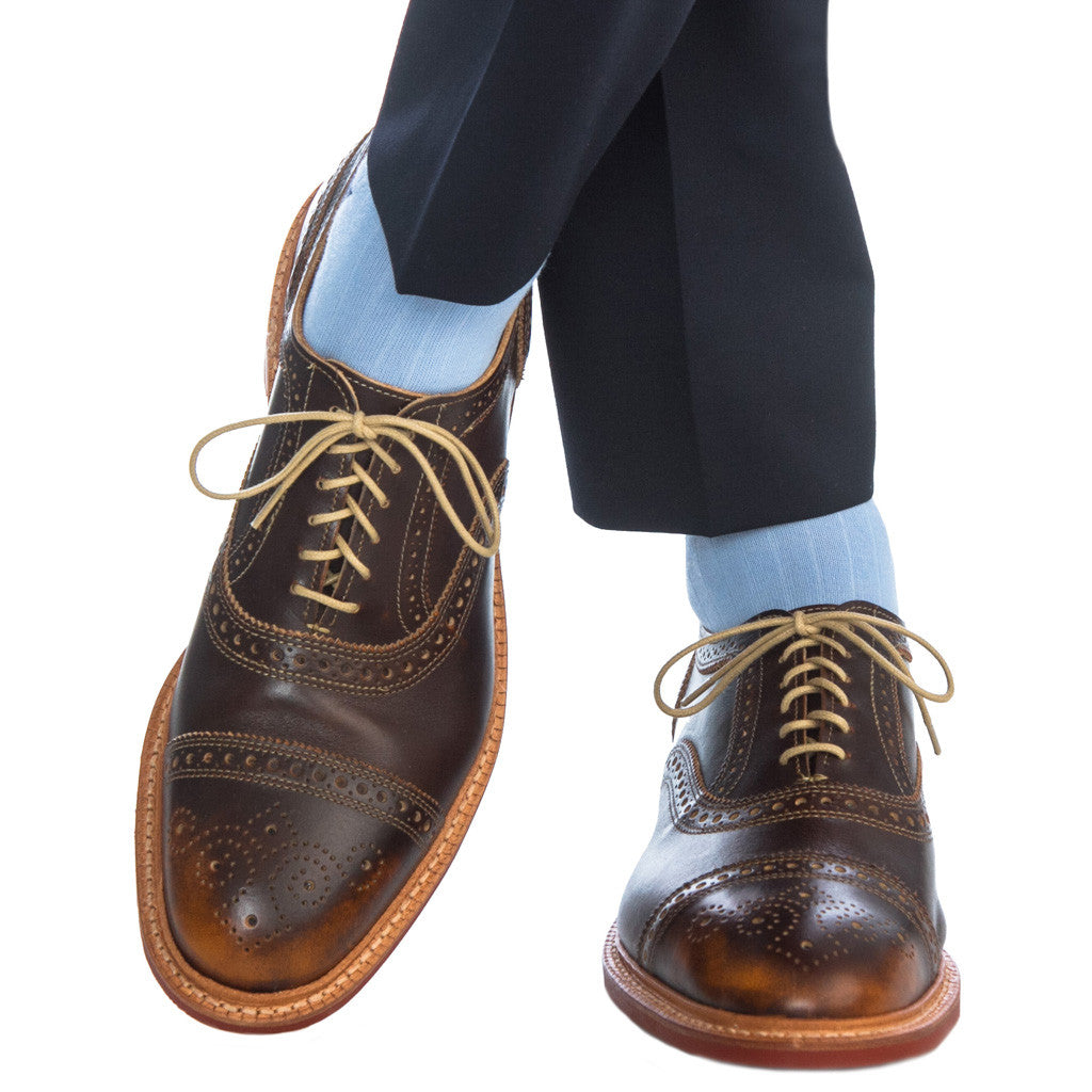 Sky Blue Ribbed with Navy Tipping Fine Merino Wool Linked Toe OTC - over-the-calf - dapper-classics