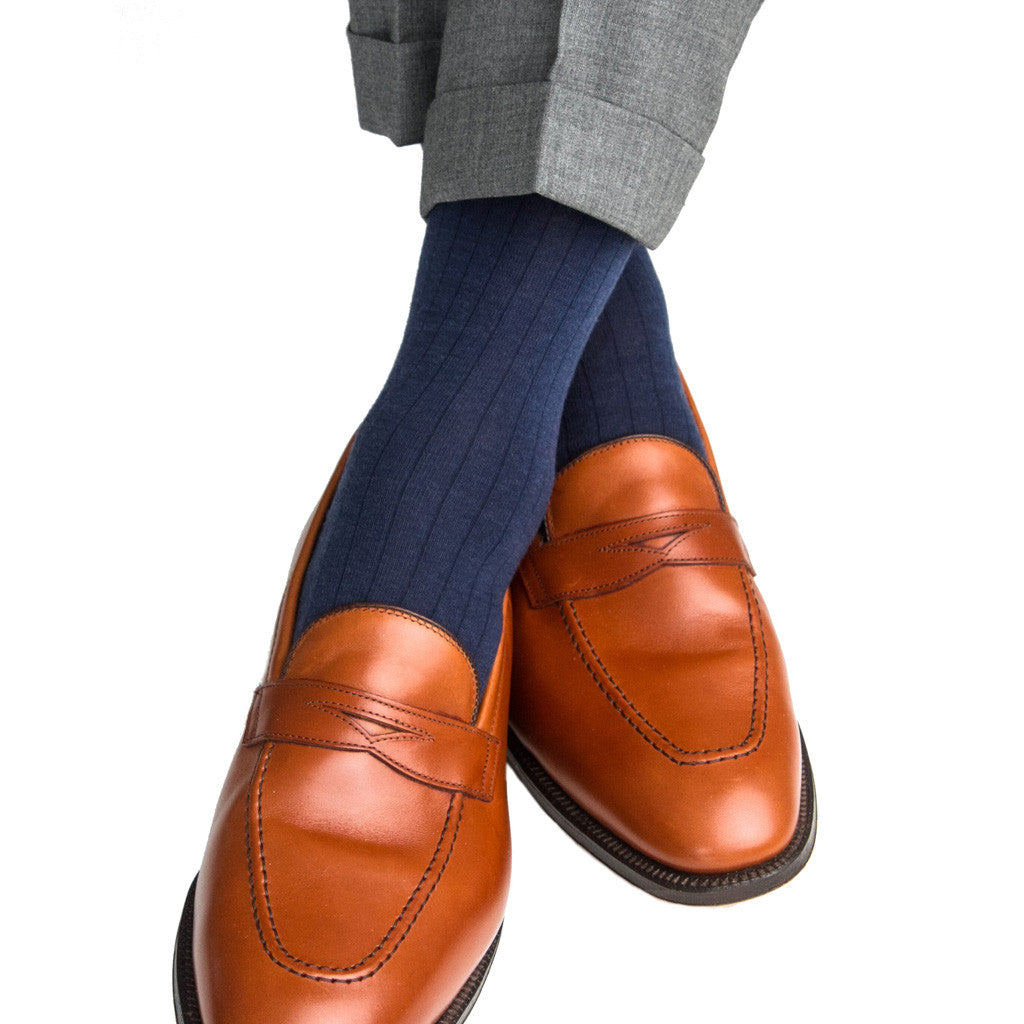 Dress Navy Sock Fine Merino Wool Mid-Calf Linked Toe - mid-calf - dapper-classics