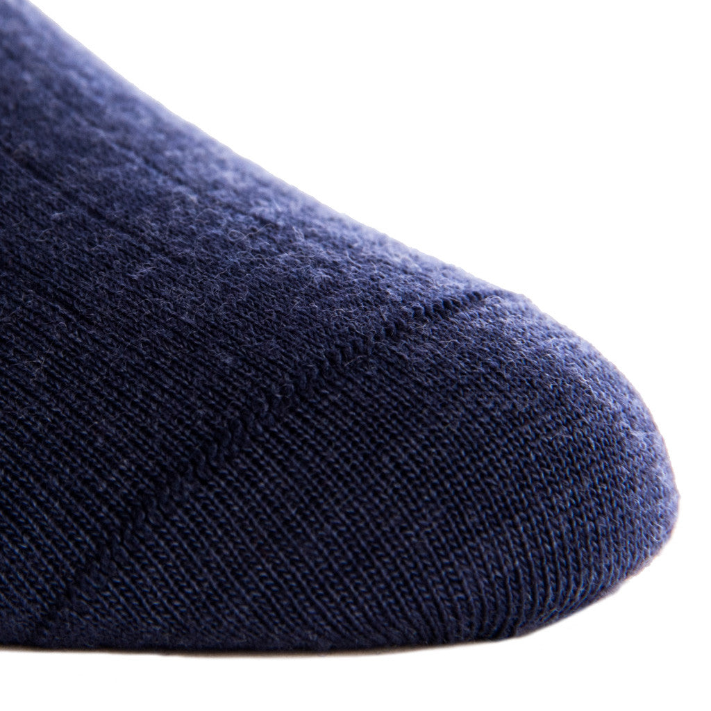 Dress Navy Ribbed Fine Merino Wool Linked Toe OTC - over-the-calf - dapper-classics