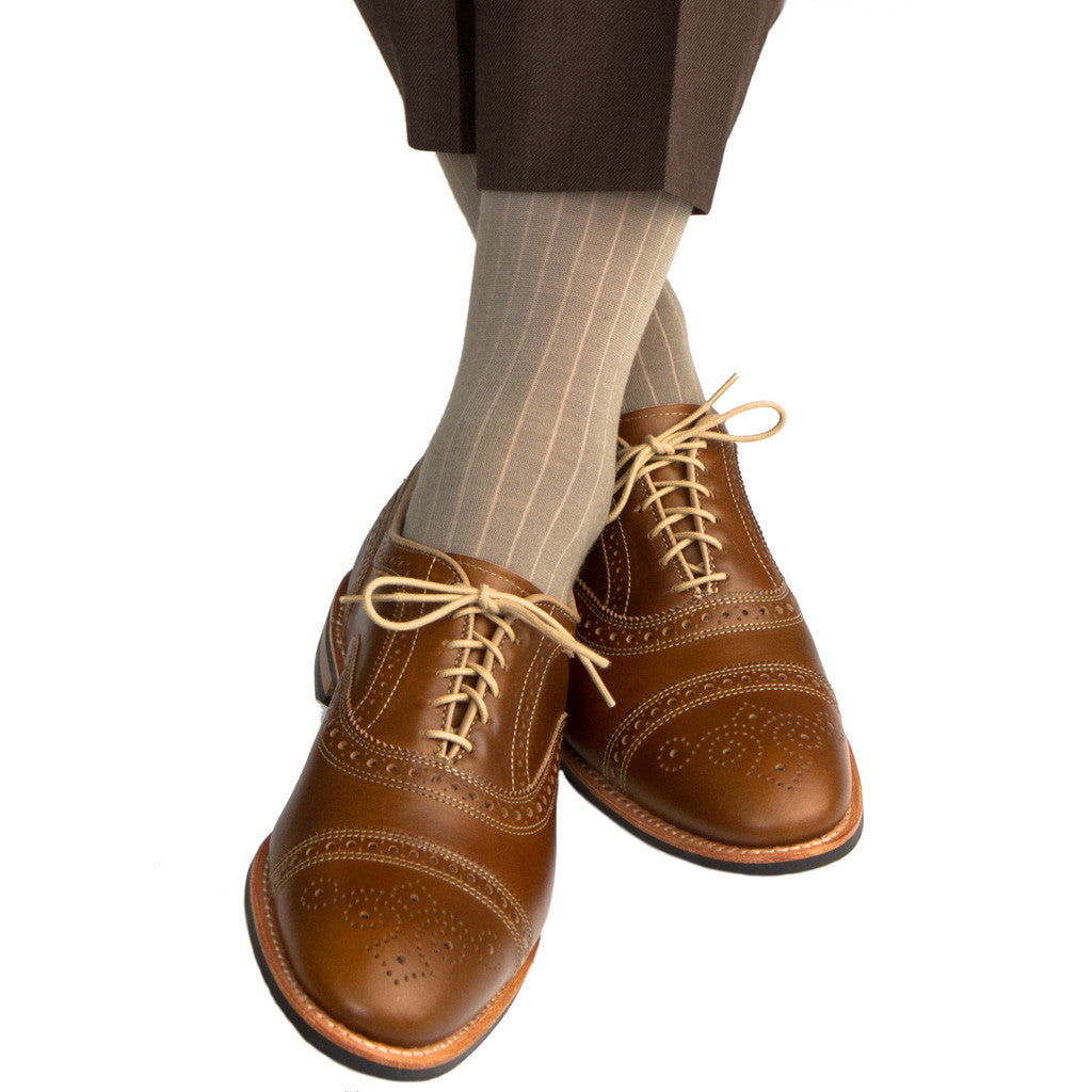 Taupe Ribbed Sock Fine Merino Wool Linked Toe Mid Calf - mid-calf - dapper-classics