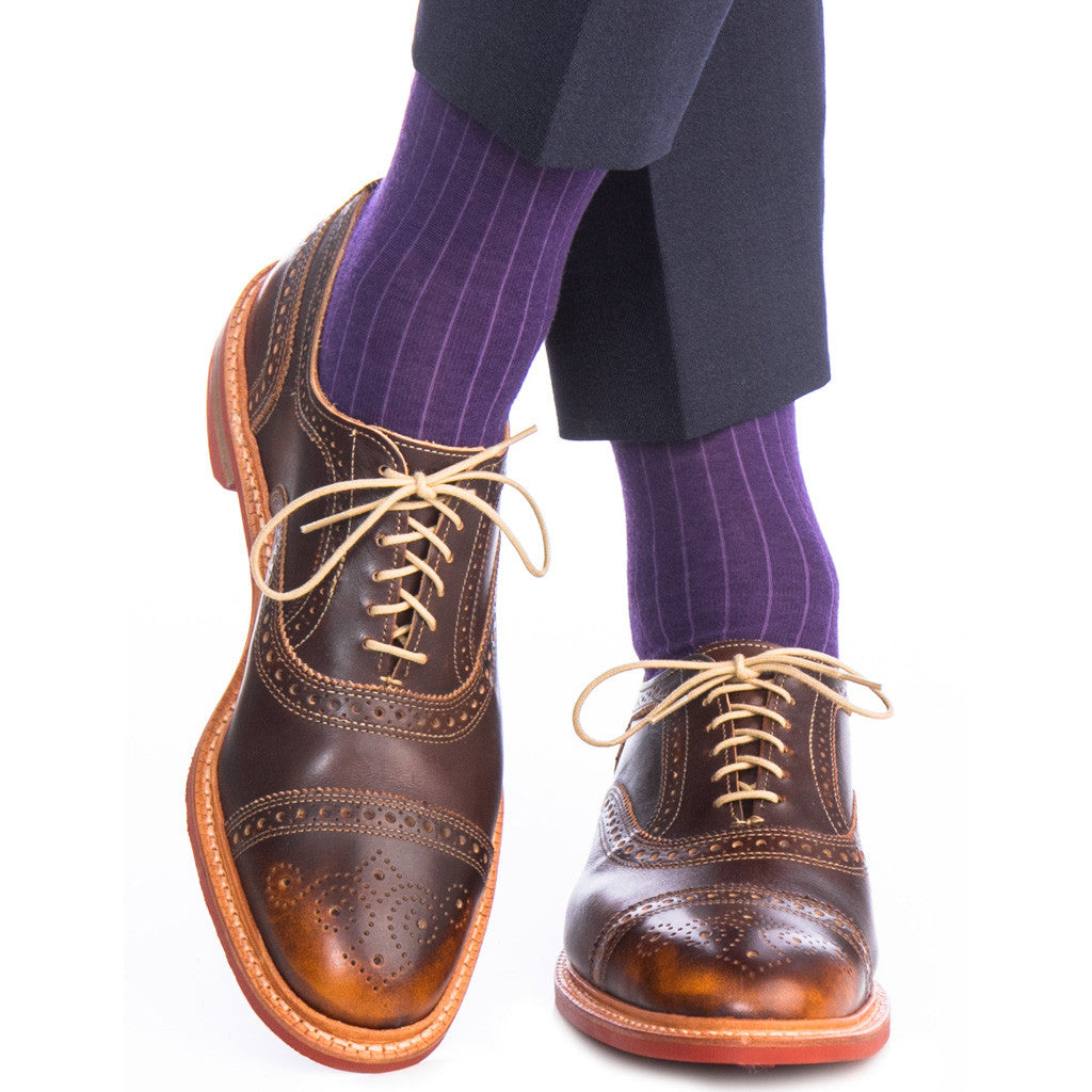 Purple Ribbed Sock Fine Merino Wool Linked Toe OTC - over-the-calf - dapper-classics