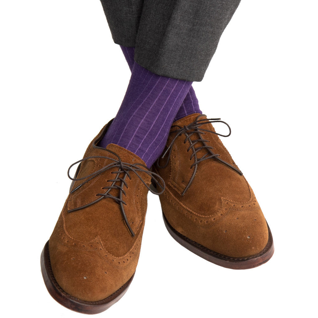 Purple Ribbed Socks Fine Merino Wool Linked Toe Mid-Calf - mid-calf - dapper-classics