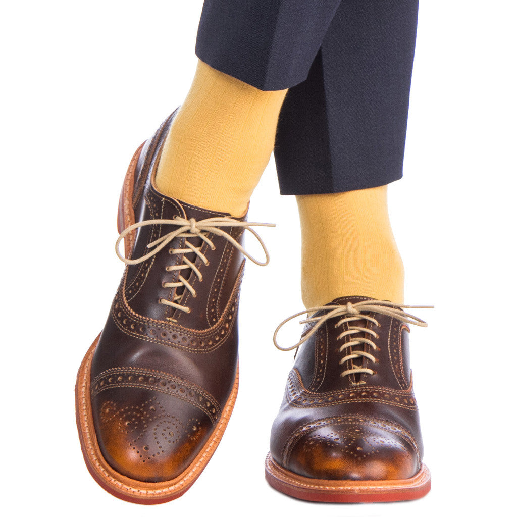 Saffron Ribbed Sock Fine Merino Wool Linked Toe Mid Calf - mid-calf - dapper-classics