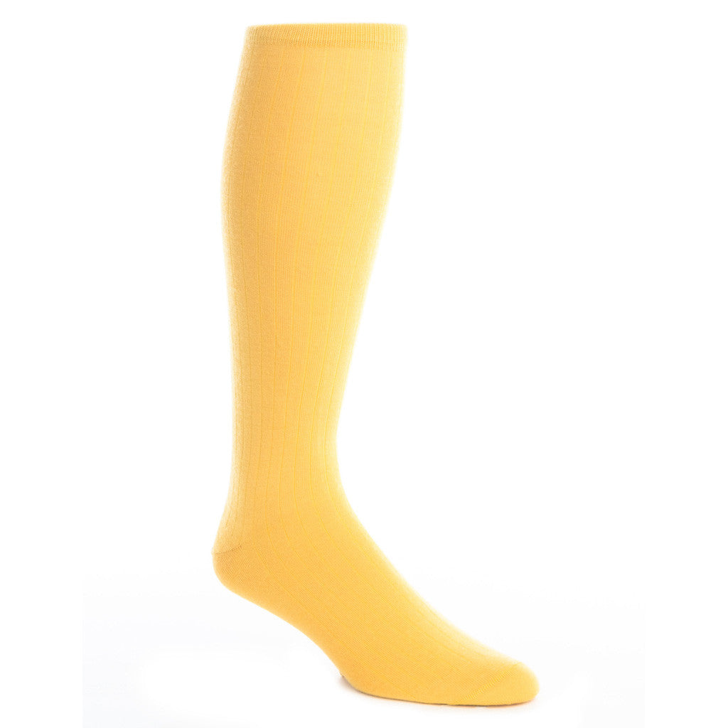 Saffron Ribbed Sock Fine Merino Wool Linked Toe OTC - over-the-calf - dapper-classics