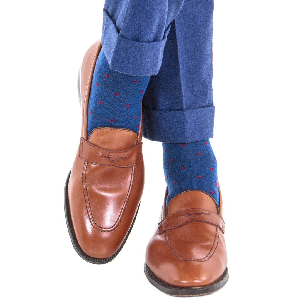 Dress Navy with Burgundy Dot Fine Merino Wool Linked Toe OTC - over-the-calf - dapper-classics
