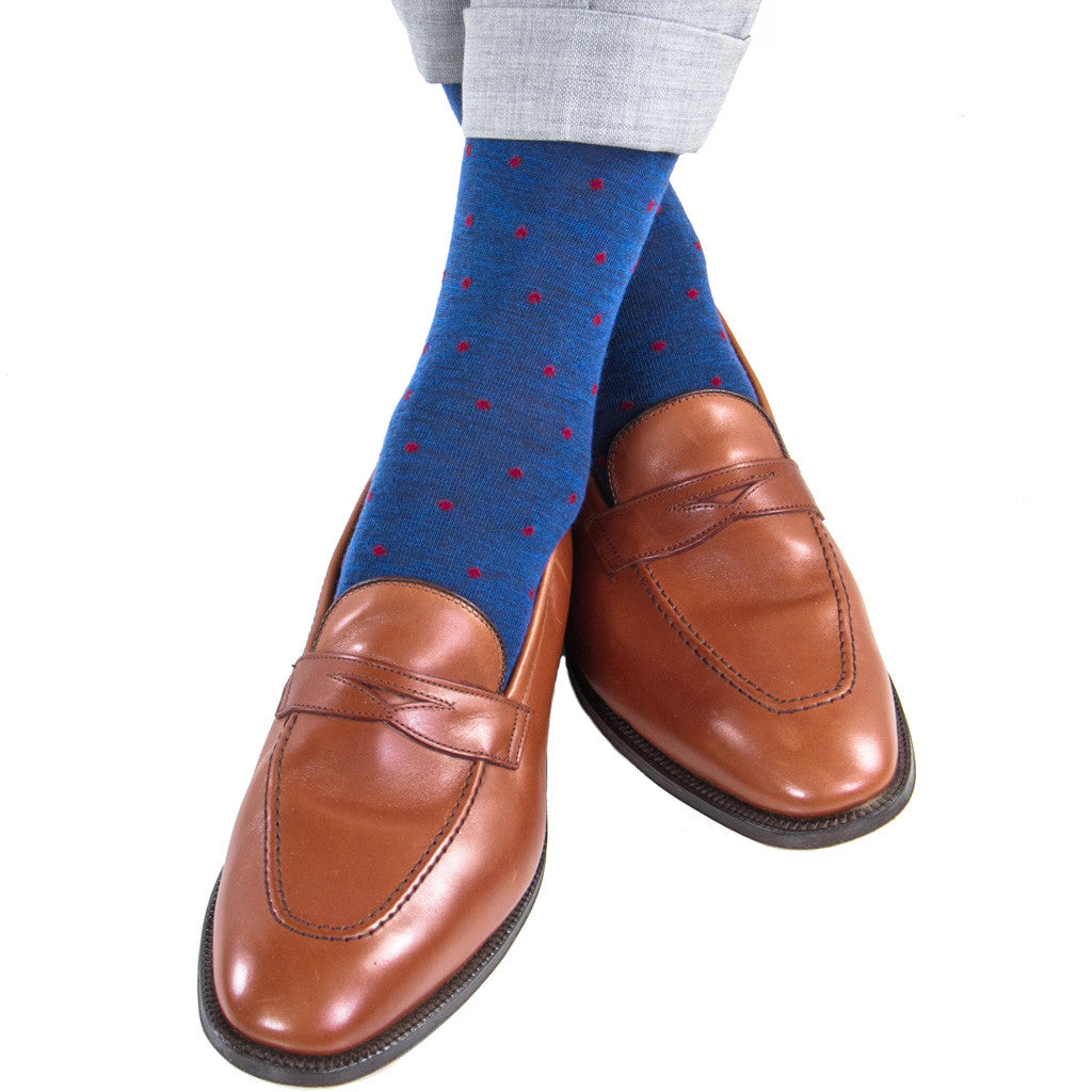 Dress Navy with Burgundy Dot Fine Merino Wool Linked Toe Mid-Calf - mid-calf - dapper-classics