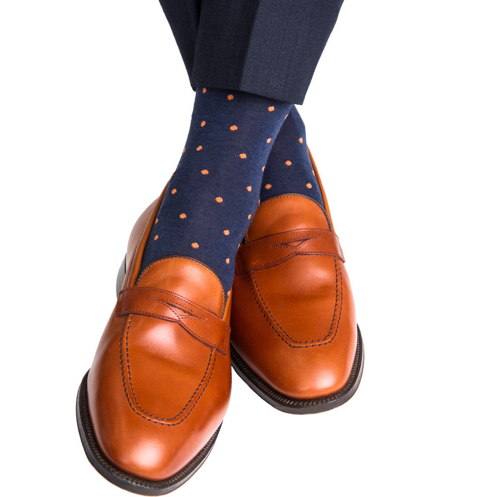 Dress Navy with Orange Dots Fine Merino Linked Toe OTC - over-the-calf - dapper-classics