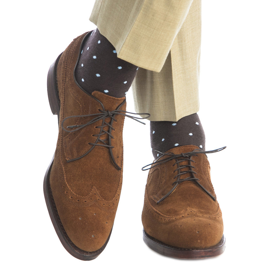 Brown with Sky Blue Dot Sock Fine Merino Wool Linked Toe Mid Calf - mid-calf - dapper-classics