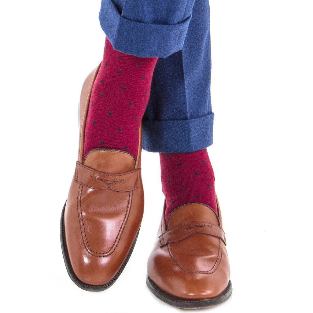 Burgundy with Navy Dot Socks Fine Merino Wool Linked Toe Mid-Calf - mid-calf - dapper-classics