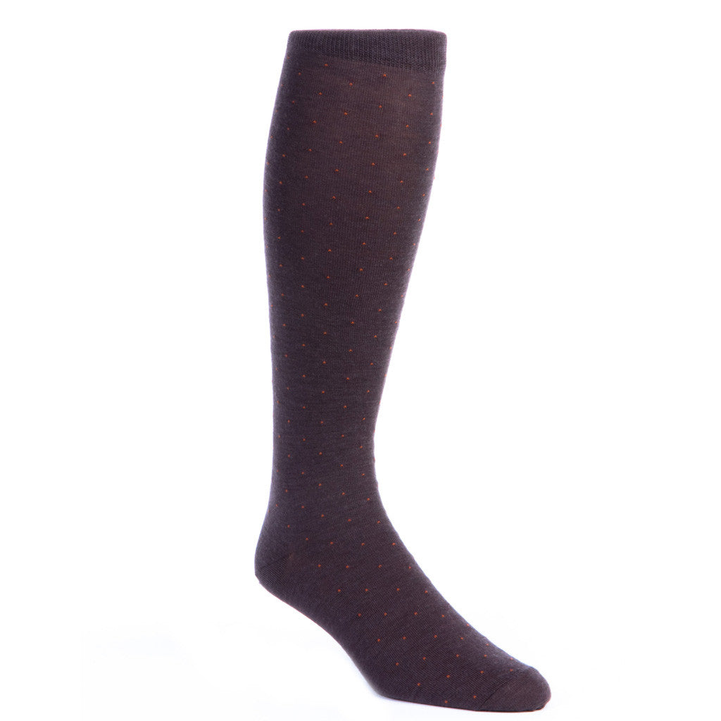 Brown Socks with Orange Pin Dot Fine Merino Wool (OTC) - over-the-calf - dapper-classics