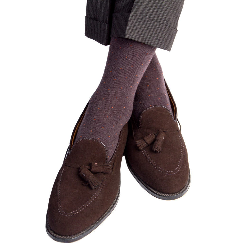 Brown with Orange Pin Dot Socks Fine Merino Wool Linked Toe Mid-Calf - mid-calf - dapper-classics