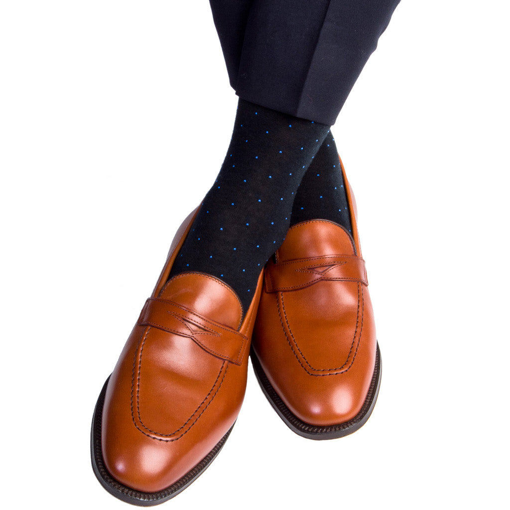 Black with Royal Pin Dot Sock Fine Merino Wool Linked Toe Mid-Calf - mid-calf - dapper-classics