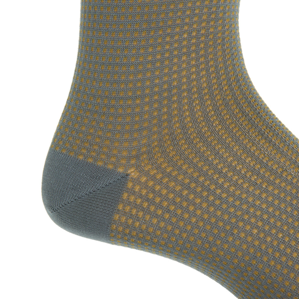 mid-calf Steel Gray and Gold Grenadine Cotton Sock