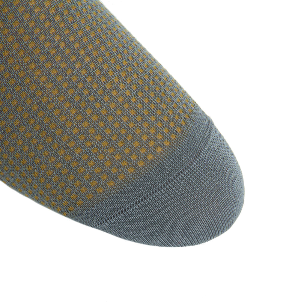 linked-toe Steel Gray and Gold Grenadine Cotton Sock