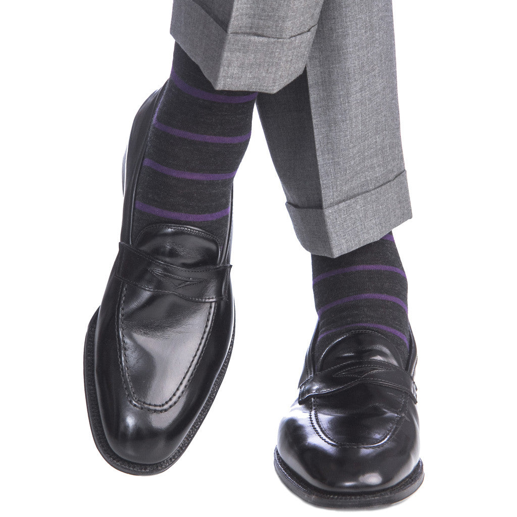 Charcoal with Purple Stripe Sock Fine Merino Wool Linked Toe OTC - over-the-calf - dapper-classics