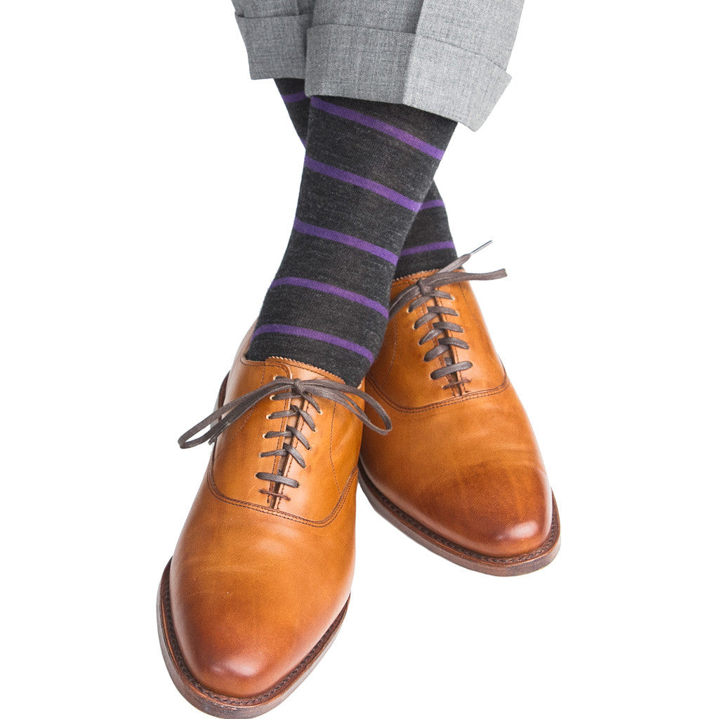 Charcoal with Grape Stripe Fine Merino Wool Linked Toe Mid-Calf - mid-calf - dapper-classics