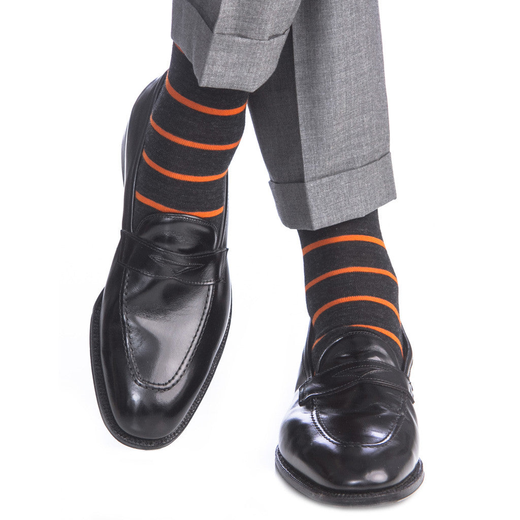 Charcoal with Orange Stripe Sock Fine Merino Wool Linked Toe OTC - over-the-calf - dapper-classics