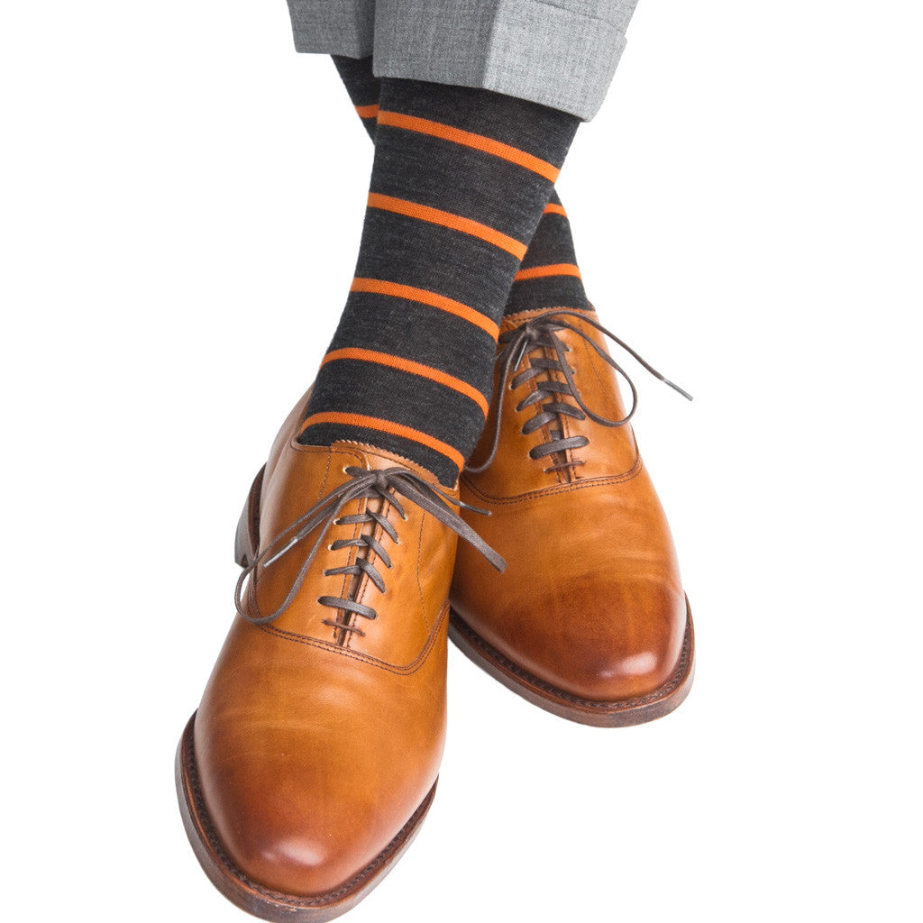 Charcoal with Burnt Orange Stripes Fine Merino Wool Linked Toe Mid-Calf - mid-calf - dapper-classics