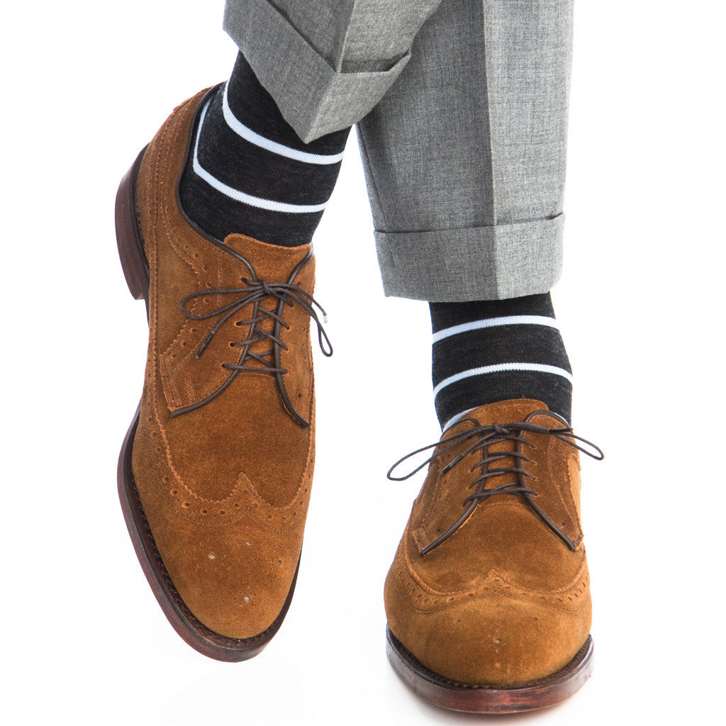 Charcoal with Sky Stripe Linked Toe Fine Merino Wool OTC - over-the-calf - dapper-classics