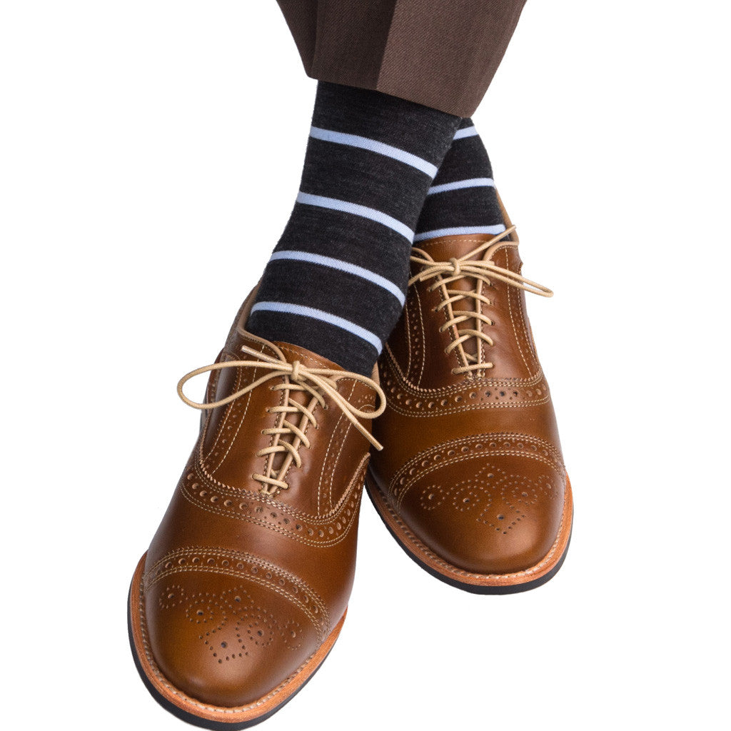 Charcoal with Sky Blue Fine Merino Wool Stripe Linked Toe Mid-Calf - mid-calf - dapper-classics