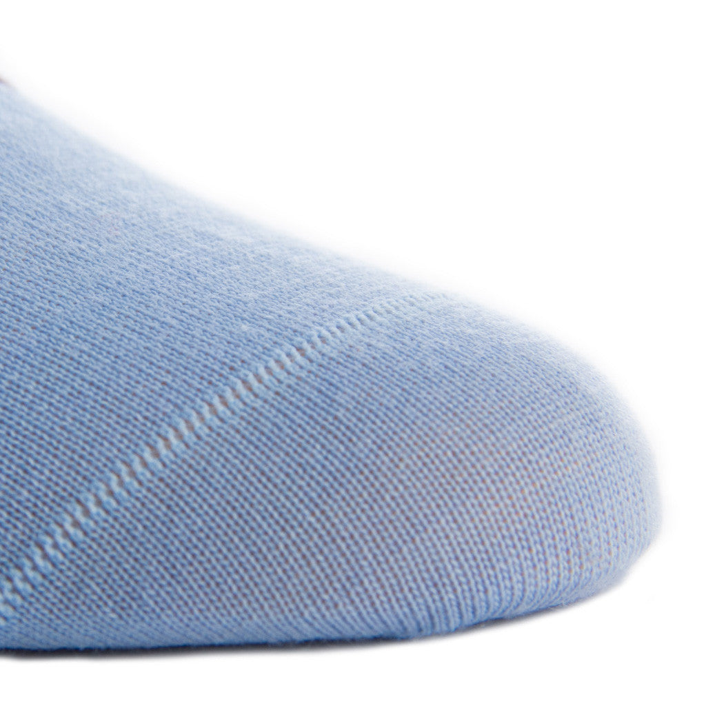 Sky Blue with Brown Stripe Fine Merino Wool Linked Toe Mid-Calf - mid-calf - dapper-classics