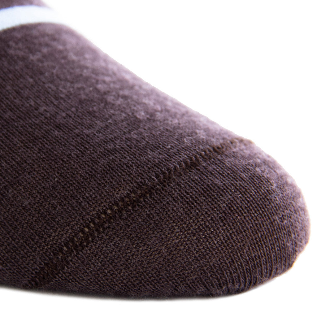 Brown with Sky Blue Stripe Sock Fine Merino Wool Linked Toe Mid-Calf - mid-calf - dapper-classics