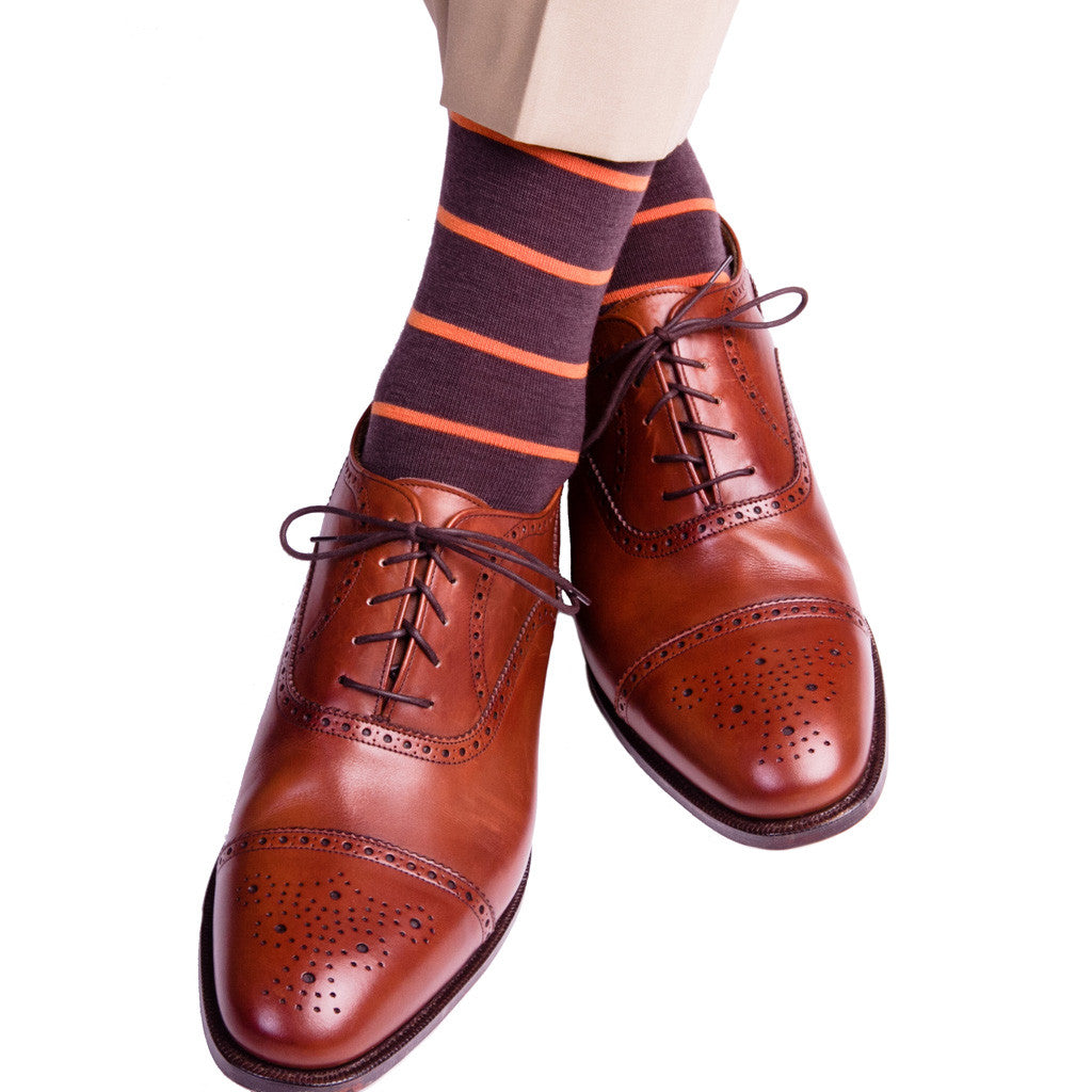 Brown with Burnt Orange Stripe Fine Merino Wool Socks (OTC) - over-the-calf - dapper-classics