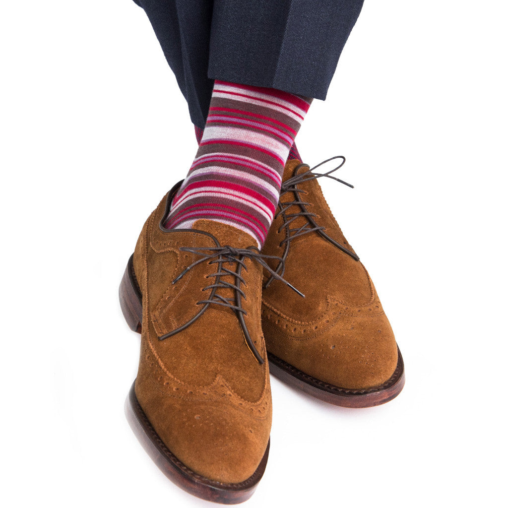 Charcoal with Purple Grey Brown Fine Merino Wool Linked Toe Mid-Calf - mid-calf - dapper-classics