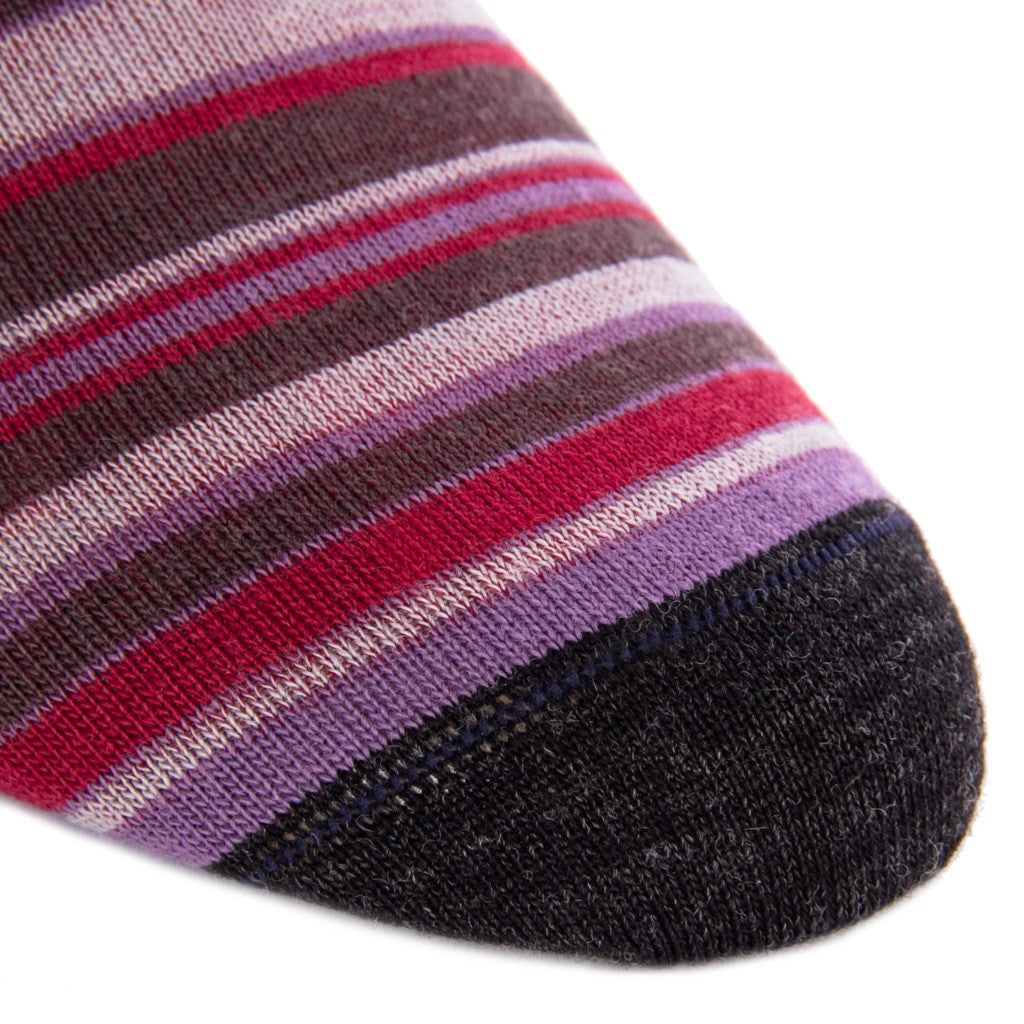 Charcoal Grape Brown and Burgundy Varigated Stripe Sock Fine Merino Wool Linked Toe OTC - over-the-calf - dapper-classics