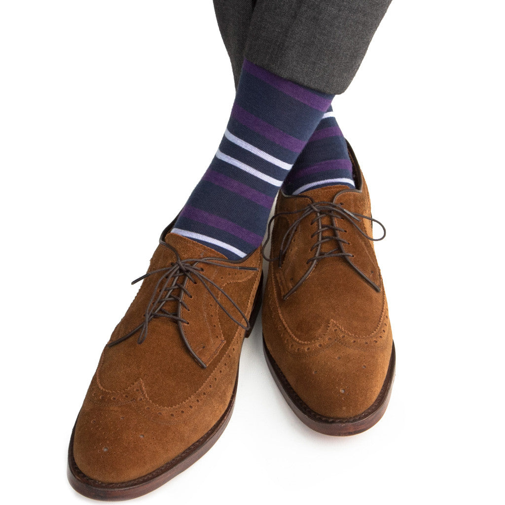 Dress Blue with Purple and Sky Blue Double Stripe Sock with Fine Merino Wool Linked Toe Mid-Calf - mid-calf - dapper-classics