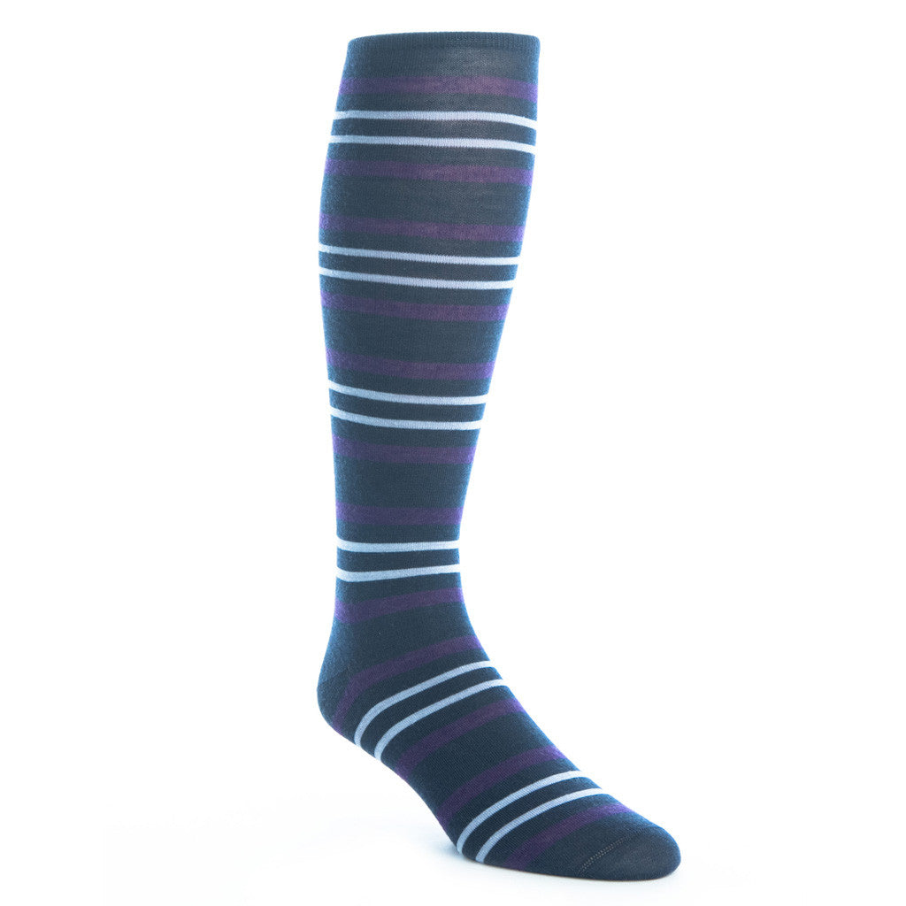 Dress Blue with Purple and Sky Blue Double Stripe Sock with Fine Merino Wool Linked Toe OTC - over-the-calf - dapper-classics
