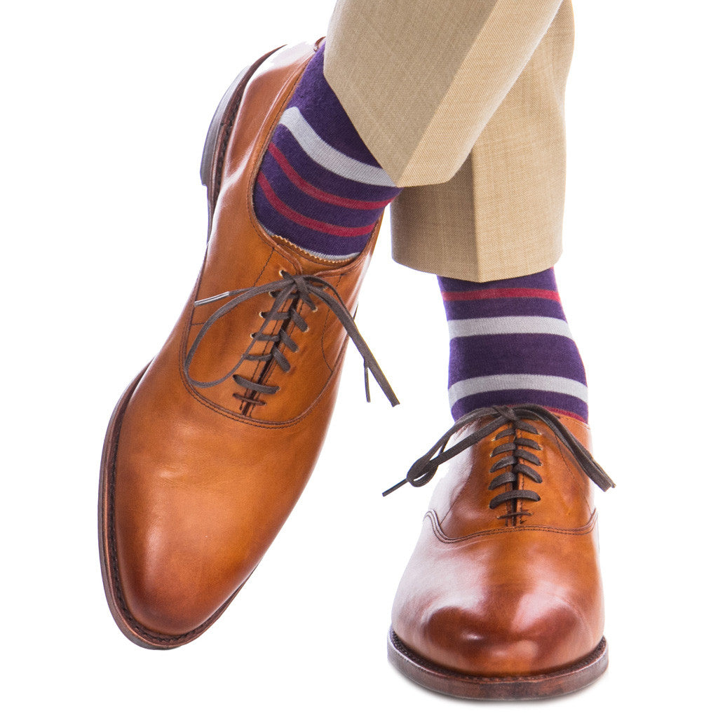 Purple with Gray and Burgundy Fine Merino Socks Linked Toe Mid Calf - mid-calf - dapper-classics