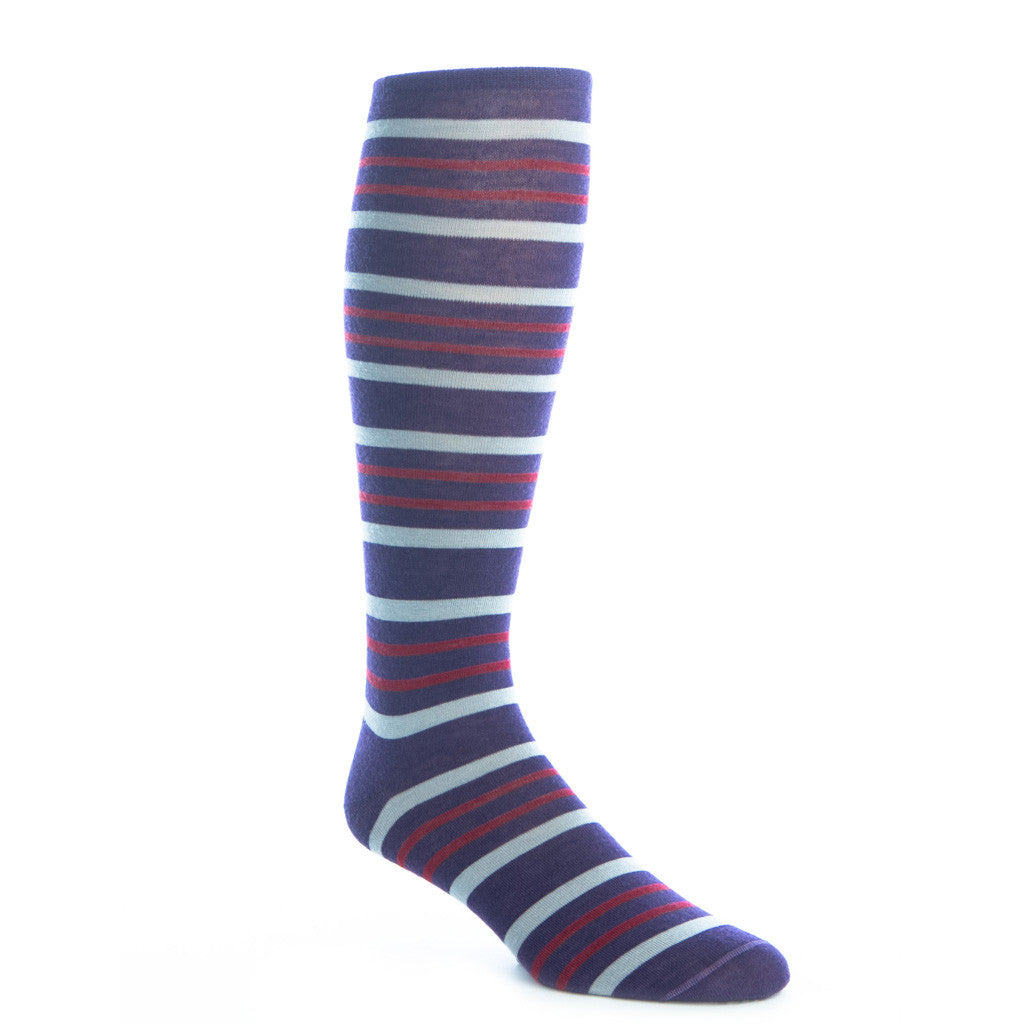 Purple with Gray and Burgundy Fine Merino Sock Double Stripe Linked Toe OTC - over-the-calf - dapper-classics