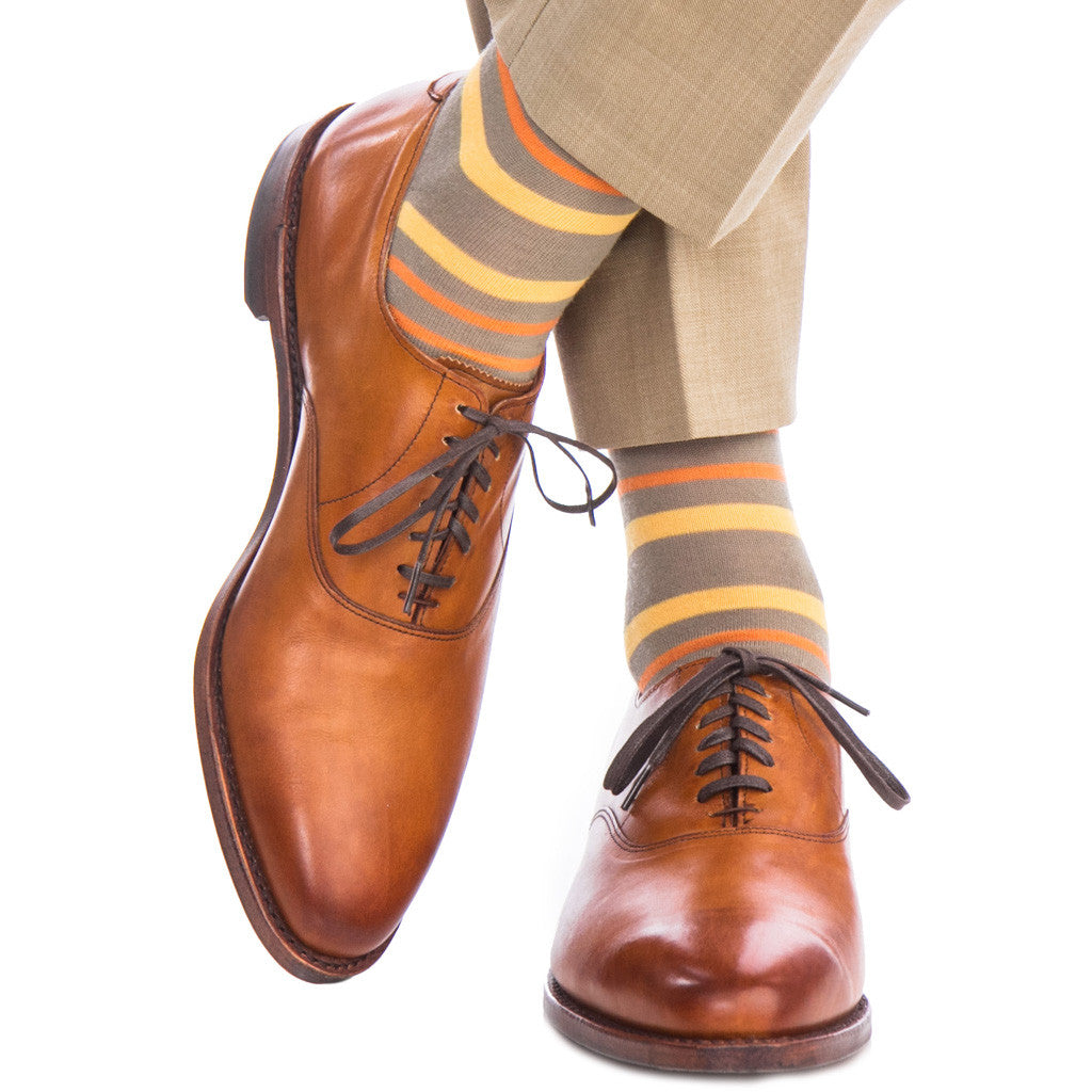 Taupe with Saffron and Orange Double Stripe Sock Fine Merino Wool Linked Toe Mid-Calf - mid-calf - dapper-classics