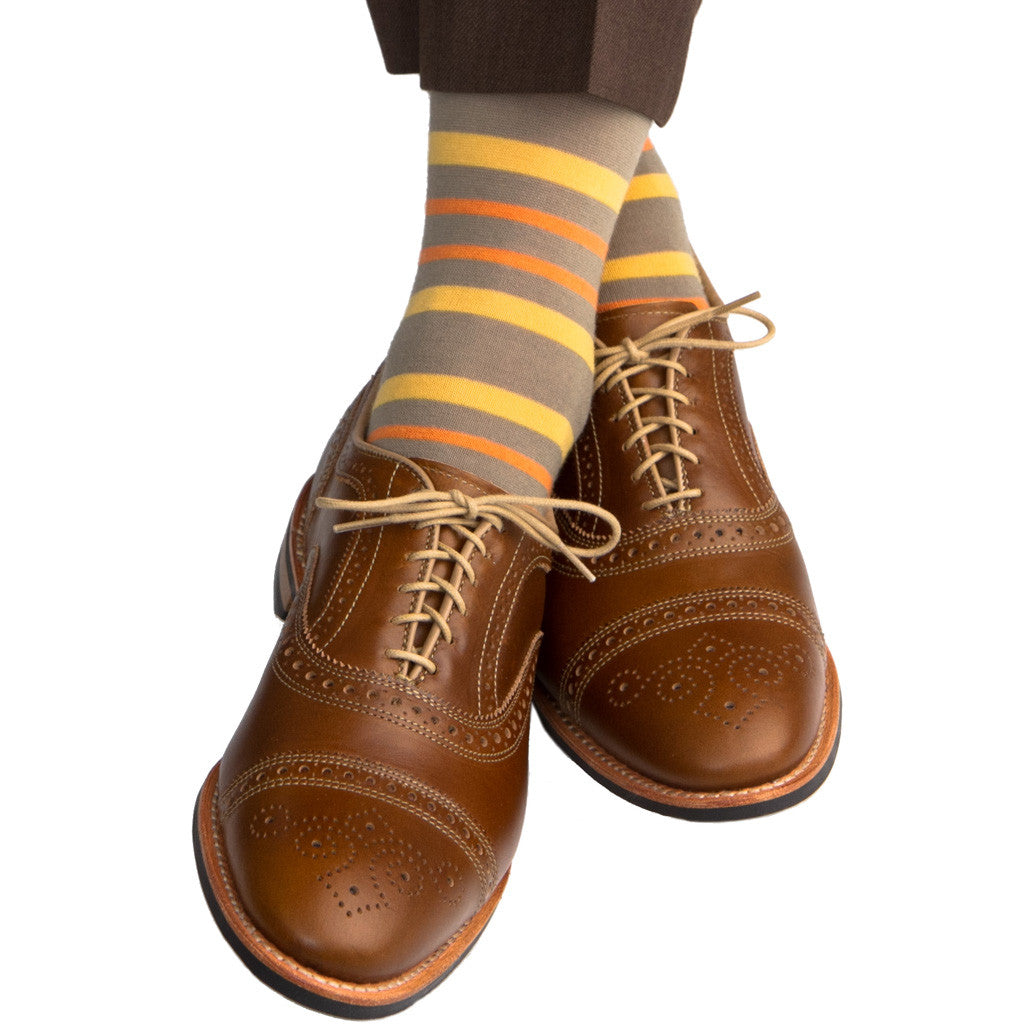 Taupe with Saffron and Orange Double Stripe Sock Fine Merino Wool Linked Toe OTC - over-the-calf - dapper-classics