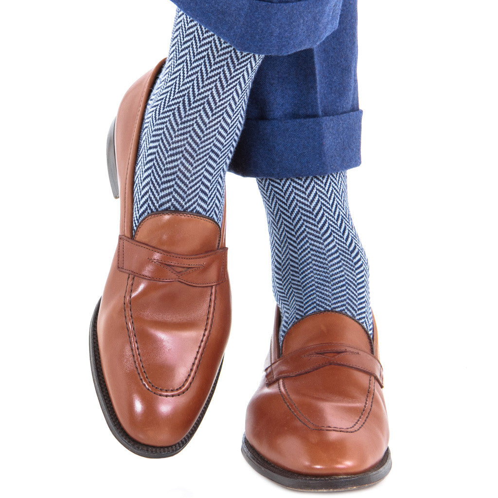 Dress Navy with Sky Blue Herringbone Fine Merino Wool Mid-Calf - mid-calf - dapper-classics