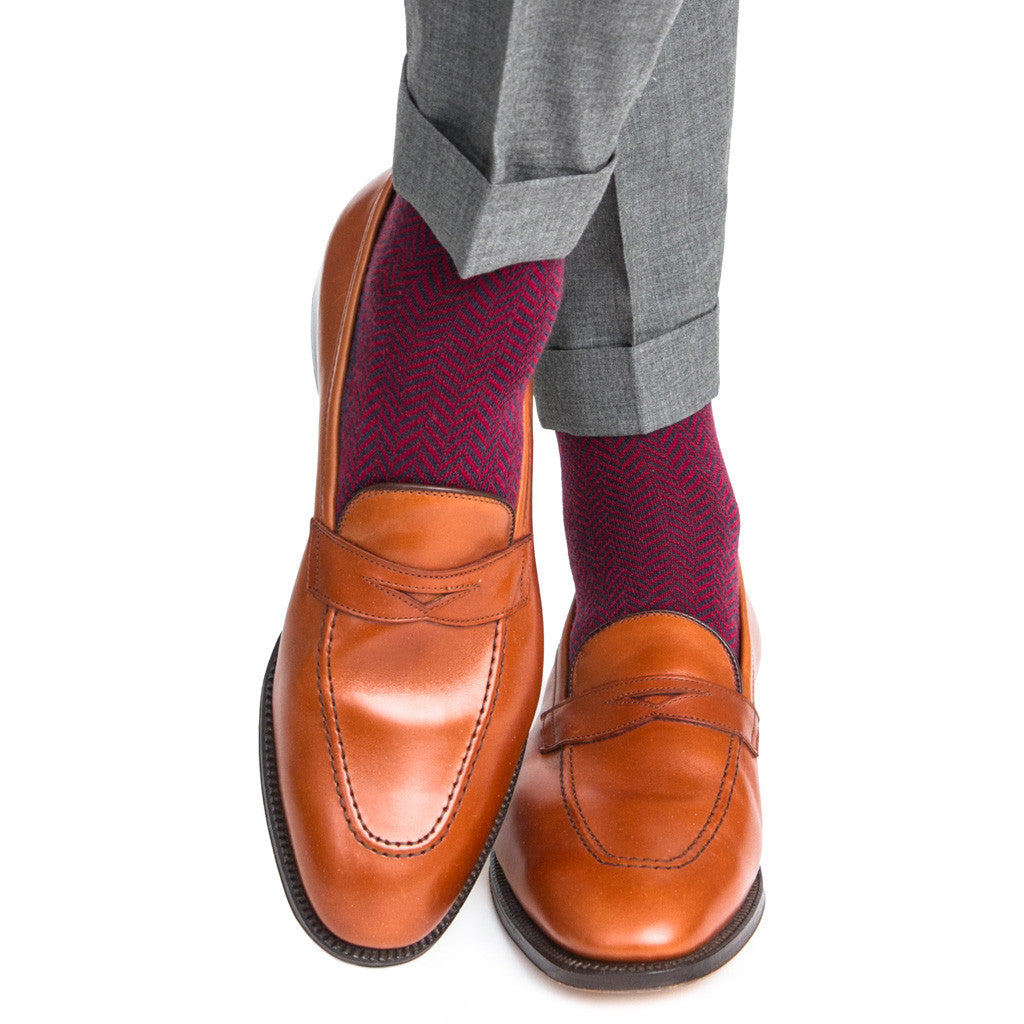Navy with Burgundy Herringbone Sock Fine Merino Wool Mid-Calf - mid-calf - dapper-classics