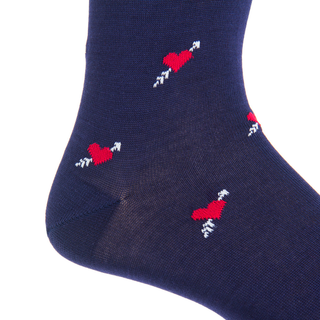 Mid-calf navy with red heart and cream arrow