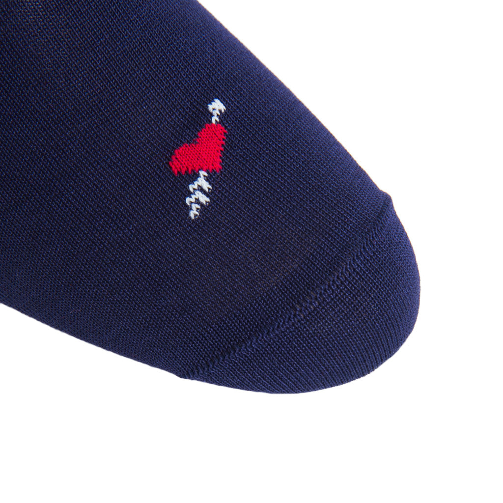 linked-toe navy with red heart and cream arrow