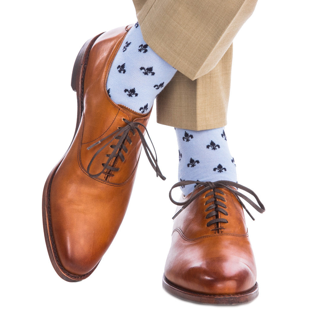 Sky Blue and Dress Navy Fleur De Lis Socks Fine Merino Wool Linked Toe Over-The-Calf - over-the-calf - dapper-classics
