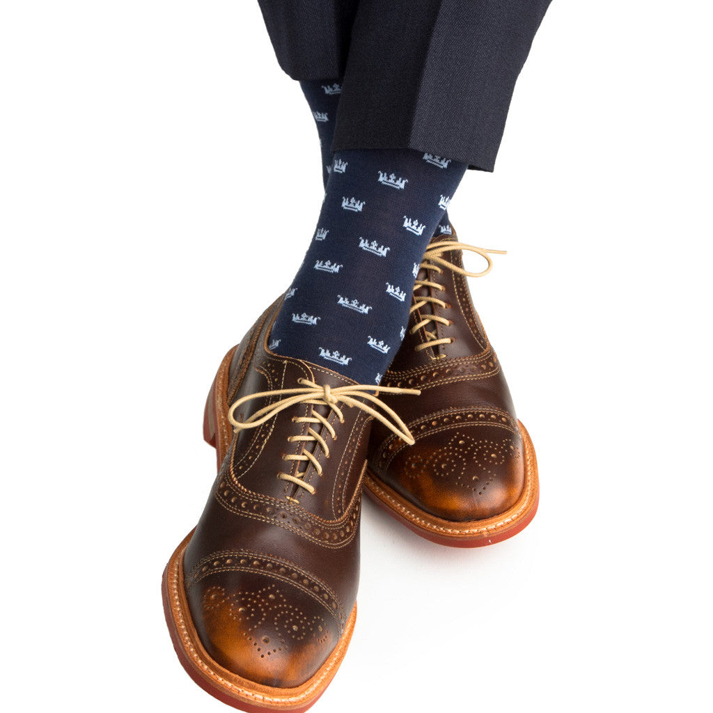 Dress Navy with Sky Blue Crown Sock Fine Merino Wool Linked Toe Mid-Calf - mid-calf - dapper-classics