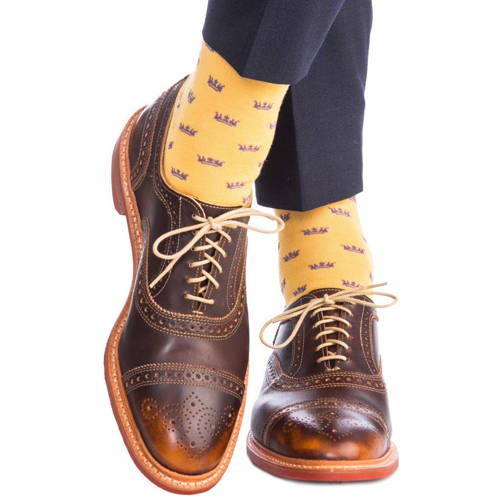 Saffron with Purple Crown Socks Fine Merino Wool Linked Toe OTC - over-the-calf - dapper-classics