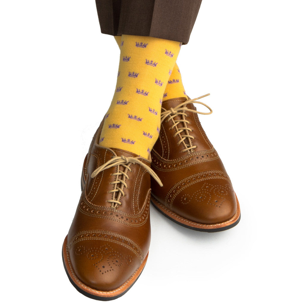 Saffron with Purple Crown Socks Fine Merino Wool Linked Toe Mid-Calf - mid-calf - dapper-classics